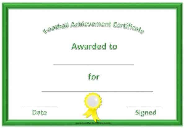 Football certificates with a green frame and a yellow award ribbon