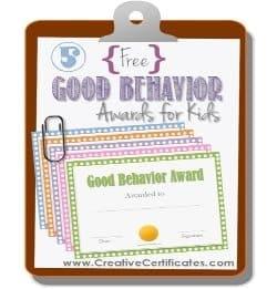 Good behavior awards for kids