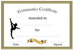 formal gymnastics award with a picture of a gymnast standing on one leg