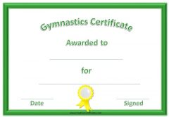 certificate with a green border and a yellow ribbon