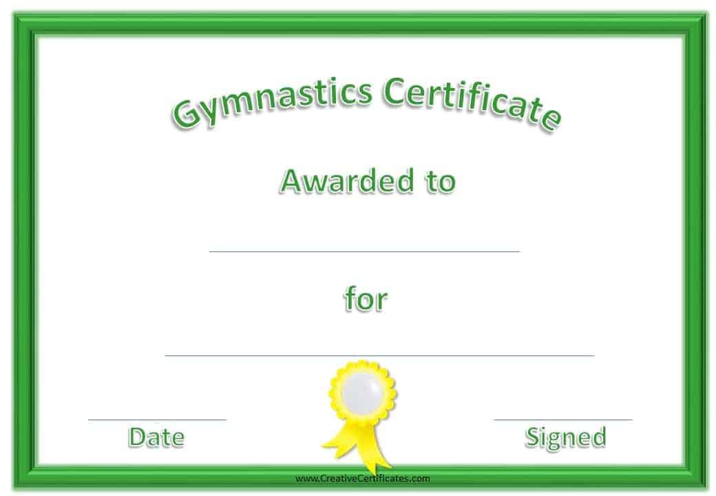 gymnastics awards certificate customize printable ribbon border