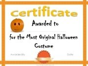 Most original Halloween costume certificate