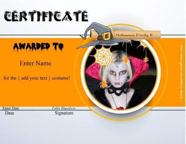 Halloween costume award certificate