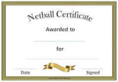 Netball Certificates with gold frame and gold ribbon