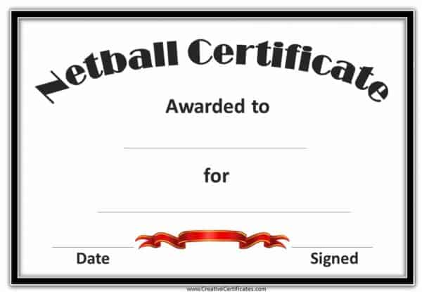 netball certificate with a black frame and a red award ribbon