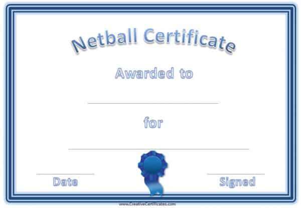 blue netball certificate Award