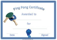 Ping Pong Certificate with a blue and green table tennis racket