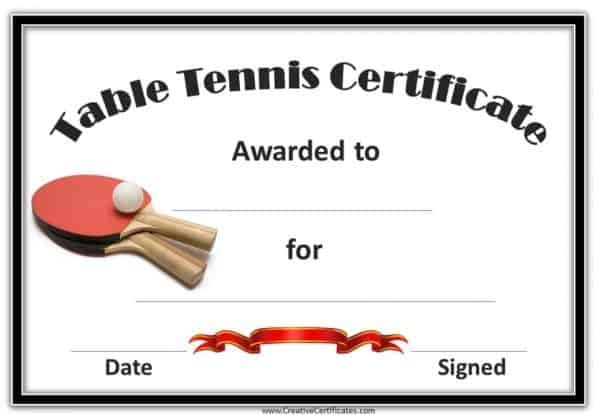 Table Tennis Award with two red ping pong rackets and a ball