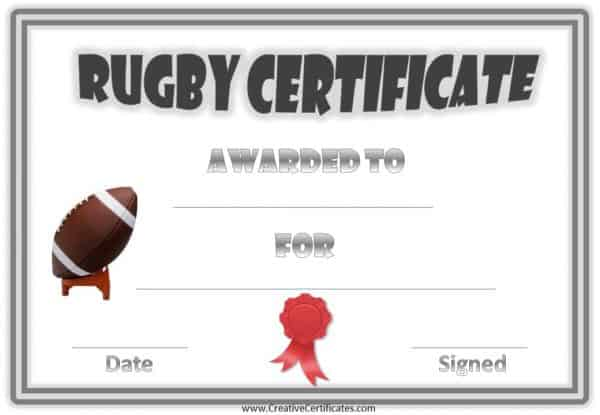 Rugby Award with a grey double border and a rugby ball