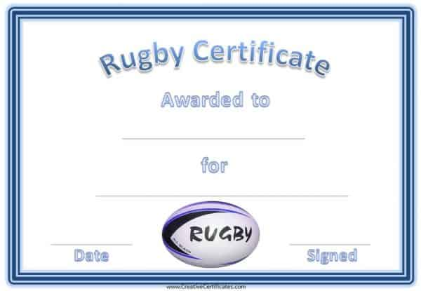 Rugby Certificates with a blue and white rugby ball