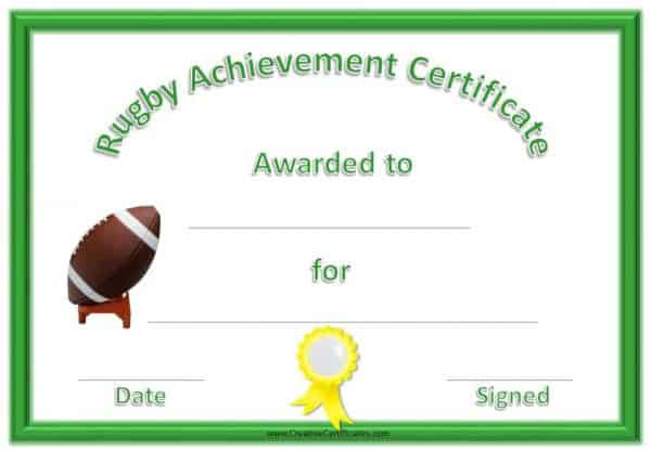 "Sports Award which reads ""rugby achievement certificate"" with a green border and a yellow ribbon and a rugby ball"