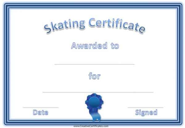 Skating Award Certificate