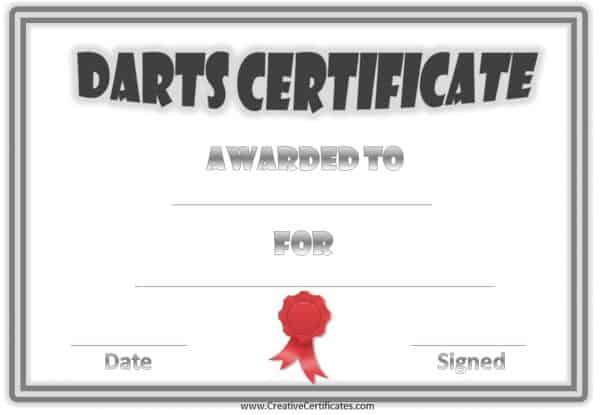 Darts awards with a silver double border and a red ribbon