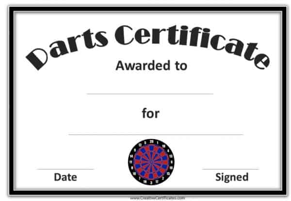 Darts award certificate with a black, red and blue dart board