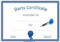 Darts award certificate with a blue dart, a blue border and a blue ribbon