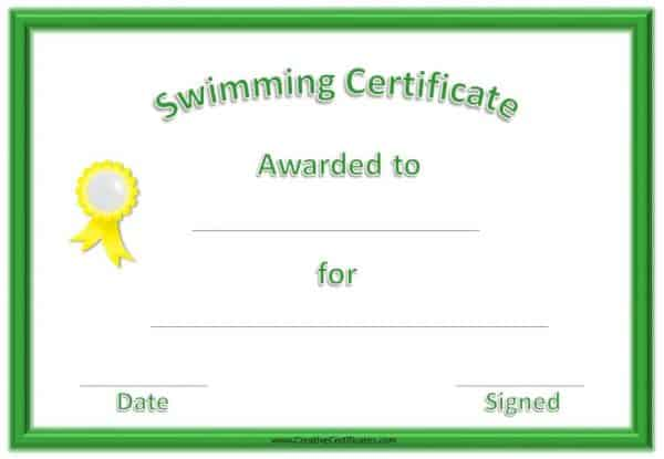 Printable swimming certificate template with a green border and yellow ribbon on the left side