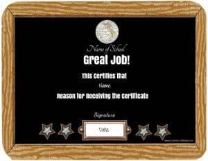 School award certificates with a chalkboard border