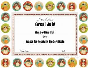 """Great job award with colored owls. The title """"great job"""" and all other text can be changed."""
