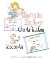 Tooth fairy certificates and receipts