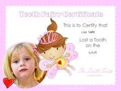 Tooth fairy certificate for girls