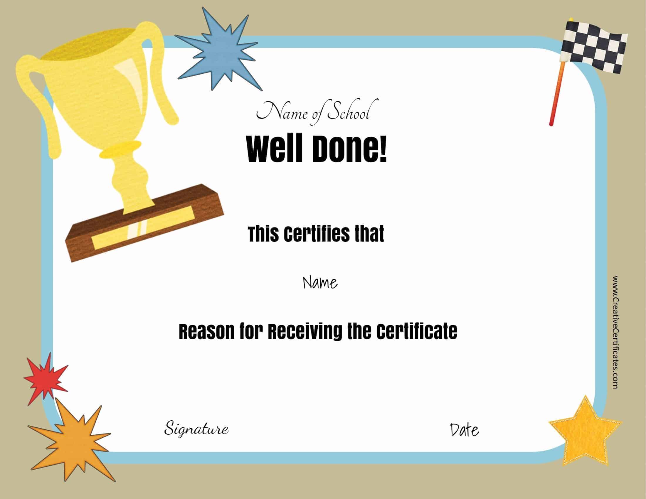 certificates student certificate month printable templates award awards done well template preschool kindergarten completion creativecertificates physical education customize teacher prize