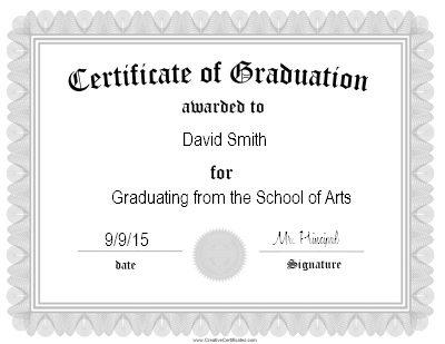 Certificate of graduation certificate template