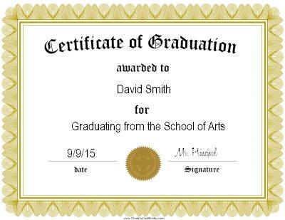 Gold Certificate of graduation certificate