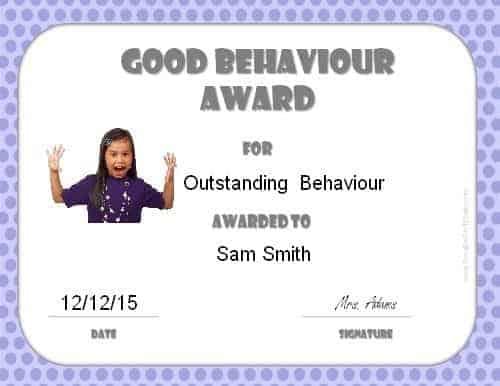 Award for good behaviour