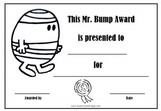 Clumsy certificate in black and white with a picture of Mr Clumsy to colour in