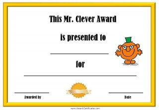 printable certificate for being clever with a picture of Mr Clever