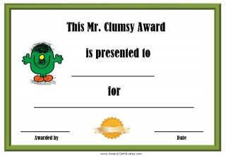 clumsy award with a picture of Mr Clumsy