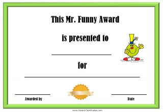 Funny award certificate with a picture of Mr Funny