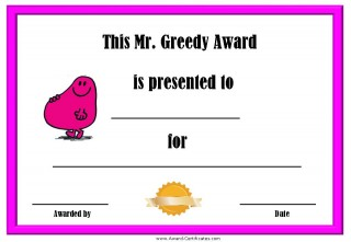 Greedy award certificate