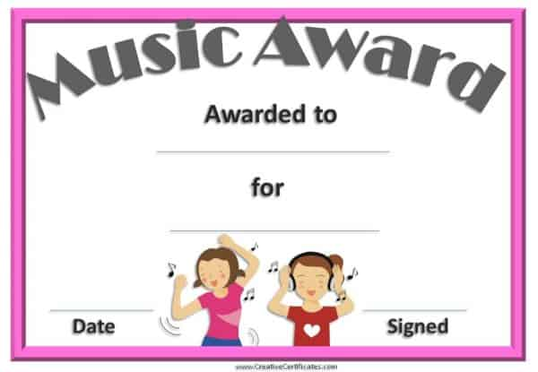 music certificate with an image of two kids listening to music
