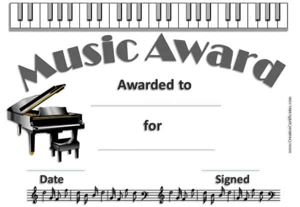 certificate with picture of a piano