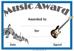 certificate with a picture of a guitar