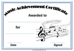 music certificate template
