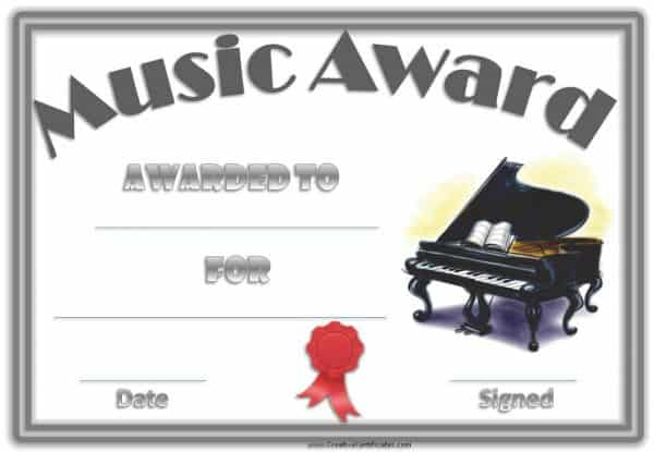 music award with an image of a piano, a double grey border and a red ribbon