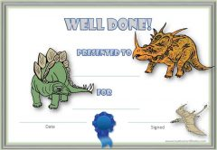 certificate with dinosaurs on it