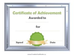silver metallic border with green ribbon