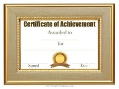 Customized sample achievement certificate template
