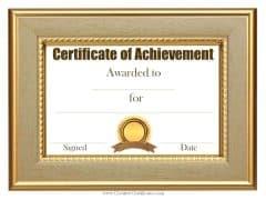 Customized sample achievement certificate template