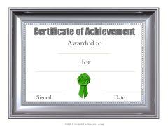 achievement template certificate