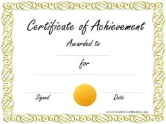 sample achievement award