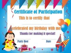 birthday party certificate