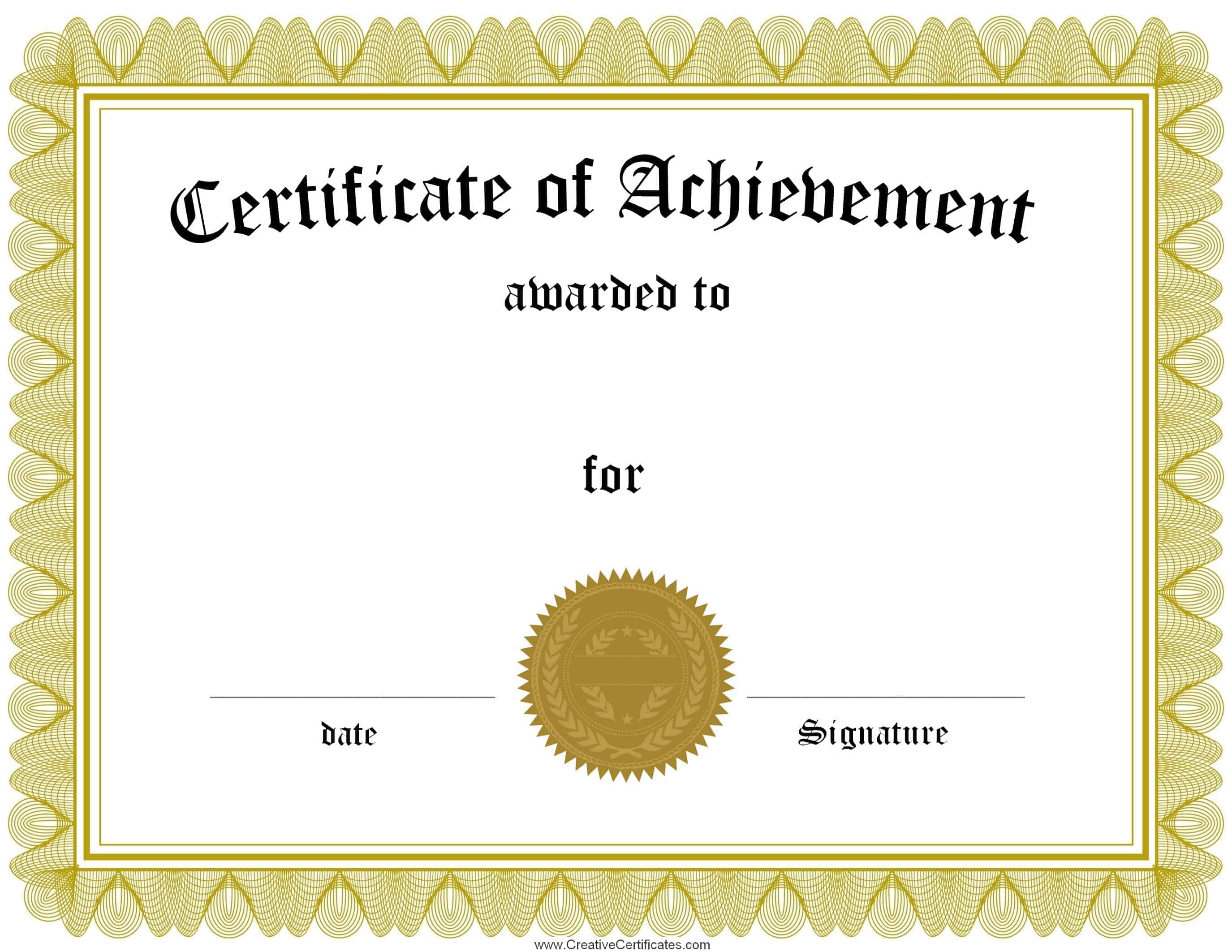 Free Customizable Certificate of Achievement  Editable & Printable For Running Certificates Templates Free