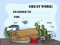 Great work award certificate