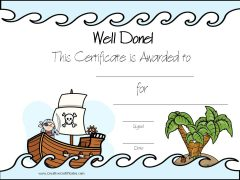 Certificate template with a pirate theme