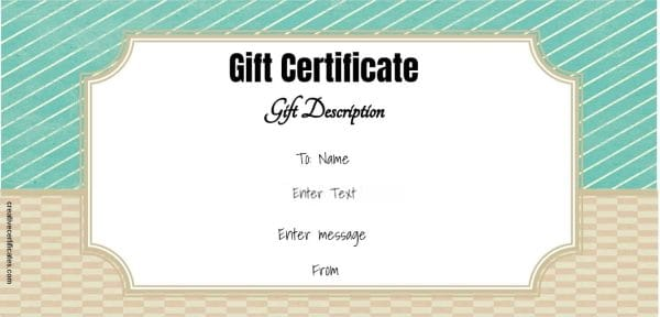 gift certificate with editable text