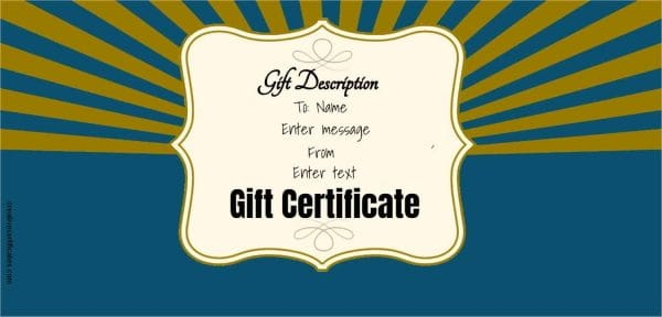 blue and gold gift certificate